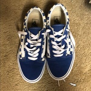 Blue Checkerboard Vans